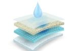 Water drop on multiple layers of mattress that prove durable latex mattress